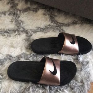 Nike RoseGold Slides - Like New
